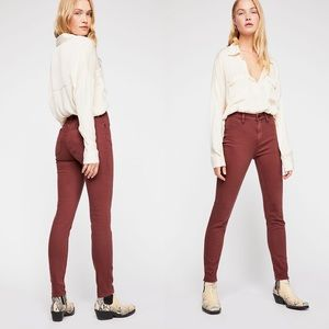 FREE PEOPLE High Rise Skinny Jeans in Red Mocha